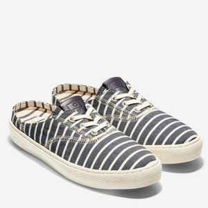 Cole Haan White/Blue Striped Grand Pro Deck Mules